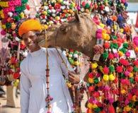 Традиционная конкуренция украшения верблюда на mela верблюда в Pushka Стоковое Изображение RF