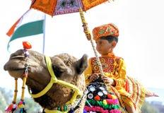 Традиционная конкуренция украшения верблюда на mela верблюда в Pushka Стоковое фото RF