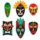 Традиционная маска африканских племен Религиозная маска шаманов или voodoo Старое декоративное украшение Этническая культура иллюстрация штока