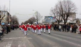 Традиционная масленица маск по случаю правоверного праздника Prochka прощения в городе Prilep, македонии Стоковые Фото
