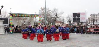 Традиционная масленица маск по случаю правоверного праздника Prochka прощения в городе Prilep, македонии Стоковые Изображения
