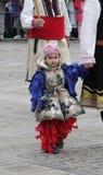 Традиционная масленица маск по случаю правоверного праздника Prochka прощения в городе Prilep, македонии Стоковое Фото