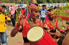 Традиционная музыка на гонке Madura Bull, Индонезии Стоковая Фотография