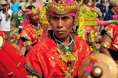 Традиционная музыка на гонке Madura Bull, Индонезии Стоковое Изображение RF