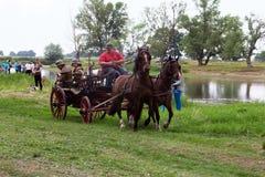 Традиционная пожарная машина вытягиванная лошадями Стоковое Изображение RF