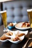 Традиционная португальская еда на таблице Стоковые Фотографии RF