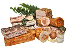 Традиционная простая украинская еда посолила свежее salo шпика, garli Стоковое Изображение