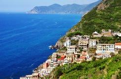Традиционная среднеземноморская архитектура Riomaggiore, Италии Стоковое Изображение