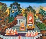 Традиционная тайская стенная роспись стоковое фото rf