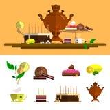 Традиционная церемония чая с самоваром Значки вектора установленные в плоский стиль Конструируйте элементы, придайте форму чашки, Стоковые Изображения RF
