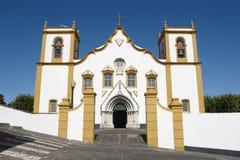 Традиционная церковь Азорских островов Santa Cruz Прая da Vitoria Terceir Стоковые Изображения