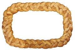 Традиционное благодарение заплело рамку хлеба изолированную на белизне Стоковая Фотография