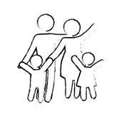 Традиционное изображение значка семьи иллюстрация штока