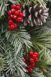 Традиционное рождество Pinecone и ягоды Стоковое Изображение