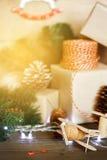 Традиционное украшение рождества с игрушками xmas года сбора винограда Стоковое Изображение RF
