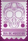 Традиционное украшение салфетки с черепом для & x22; Dia de Muertos& x22; , Иллюстрация вектора Стоковые Фото