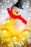 Традиционное чехословакское рождество - украшение снеговика и свечей Стоковое Изображение