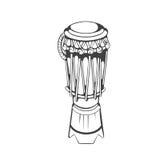 Традиционное atabaque музыкального инструмента Capoeira бразильянина черно-белая иллюстрация вектора рук-чертежа Стоковое Изображение RF