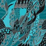 Традиционной орнаментальной предпосылка пестрого платка Пейсли нарисованная рукой с художнической картиной Яркие цветы Стоковая Фотография RF