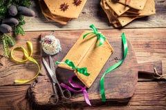 Традиционно коттедж пряника как подарок рождества Стоковые Изображения