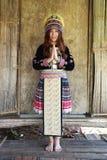 Традиционно одетое уважение оплаты женщины племени холма Mhong стоковое фото