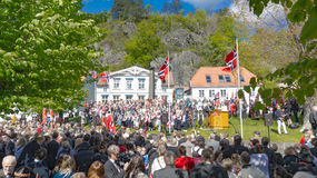 Традиционно одетые участники торжества 17-ого мая Стоковые Изображения RF