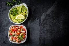 Традиционные латино-американские соусы гуакамоле и сальса намечают предпосылку Стоковые Изображения RF