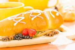 Традиционные блюдо Ecuatorian, morada colada и Стоковая Фотография RF