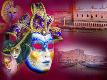 Традиционные венецианские маски и Венеция Стоковое Изображение RF