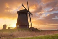 Традиционные голландские ветрянки на восходе солнца в Нидерландах Стоковое Изображение