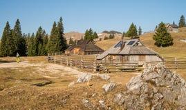 Традиционные деревянные коттеджи на Velika Planina стоковое фото rf