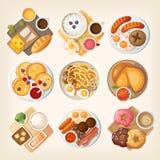 Традиционные завтраки от во всем мире бесплатная иллюстрация