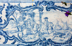Традиционные керамические плитки в Мадейре показывая местную жизнь стоковые изображения