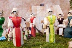 Традиционные куклы мозоли словака - сцена деревни Стоковая Фотография RF