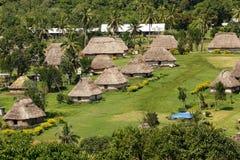 Традиционные дома деревни Navala, Viti Levu, Фиджи Стоковое Изображение RF