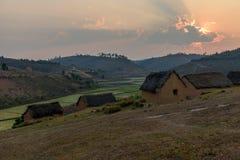 Традиционные поля деревни и риса, Мадагаскар Стоковое Изображение