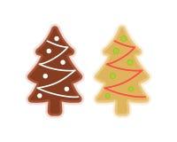 Традиционные символы печений xmas: рождественская елка Плоские обслуживания de иллюстрация вектора