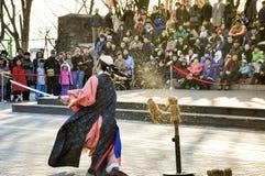 Традиционные совершители боевых искусств на башне Сеула Стоковые Изображения RF