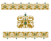 Традиционные средневековые безшовные элементы на изолированной белизне Стоковое Изображение