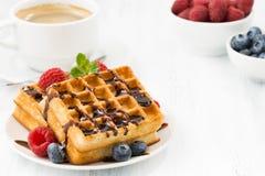 Традиционные сладостные waffles с шоколадом и ягодами, крупным планом Стоковые Фото