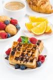 Традиционные сладостные waffles для завтрака, вертикальные Стоковые Фотографии RF