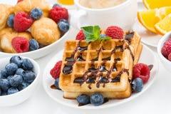 Традиционные сладостные waffles для завтрака, крупного плана Стоковые Изображения RF