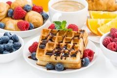 Традиционные сладостные waffles для завтрака Стоковое Изображение