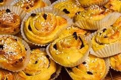 Традиционные шведские плюшки шафрана Стоковое фото RF