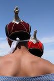 Традиционные шляпы монгольских борцов Стоковая Фотография RF
