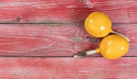 Традиционные maracas для торжества праздника Cinco de Mayo на красном цвете Стоковое Изображение