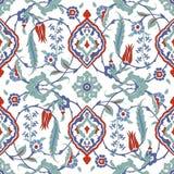 Традиционный арабский орнамент безшовный флористическая орнаментальная картина Iznik вектор Справочная информация Стоковые Фото