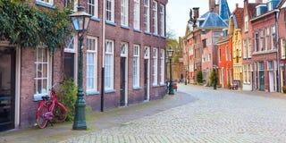 Традиционный взгляд домов в Лейдене, Нидерландах Стоковое Изображение RF