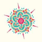 Традиционный индийский символ Геометрической элемент круга нарисованный рукой Значок духовности и раздумья Графический шаблон для Стоковое Изображение RF