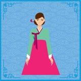 Традиционный корейский стиль Женщина в национальном платье Иллюстрация штока